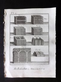 Diderot 1780's Antique Print. Architecture, Maconnerie 02 Masonry